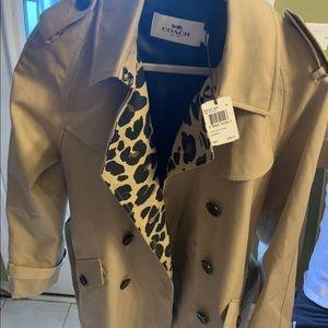 Coach leopard elegant style trench coat